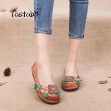 Tastabo Clearance Sale Get $8 Coupon on Detail Flat Shoes Women Summer 2018 Slip Shallow Handmade Genuine Leather Shoes Ladies