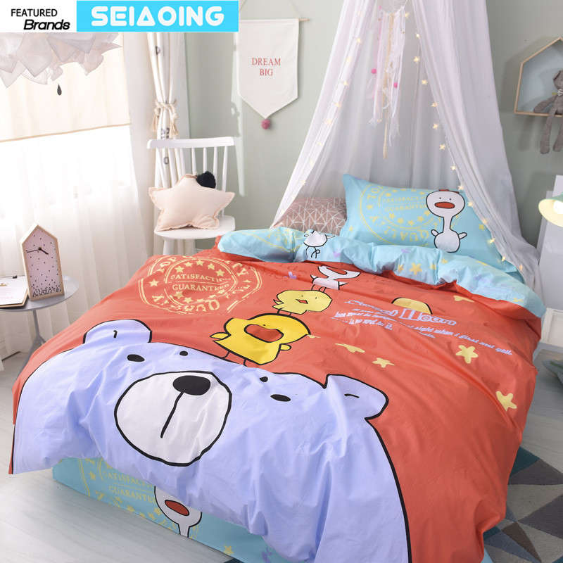 cartoon animals bedding set 100% cotton duvet cover 3d bear bird bed linens 3/4 pc red green flat sheet girl children baby decor