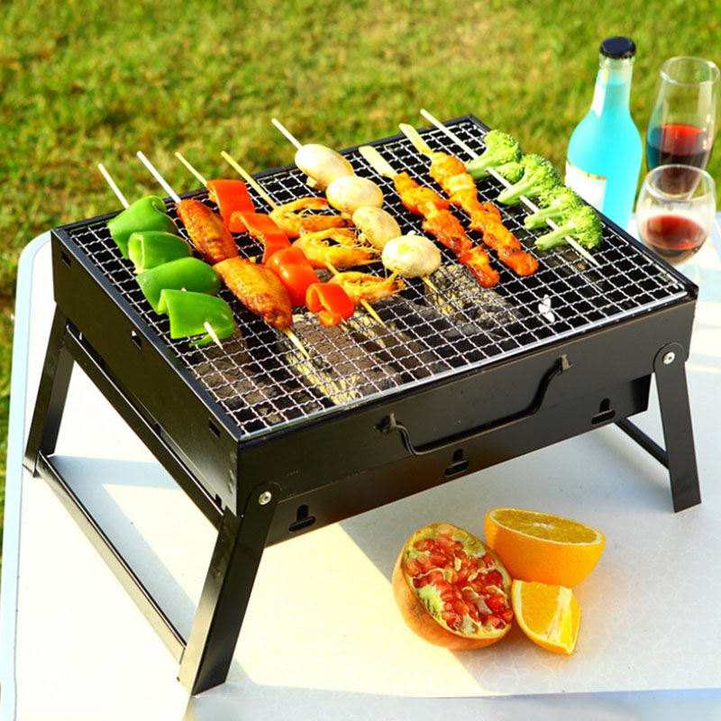 Portable BBQ Barbecue Grills Burner Oven for 3-5 Person Outdoor Garden Charcoal Barbeque Patio Party Cooking Foldable Picnic