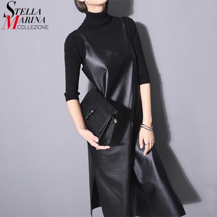 2018 mujeres de cuero de la PU vestido largo negro sólido sin mangas correas espaguetis con cuello en V lados divididos Sexy Night Party Club vestido estilo 746