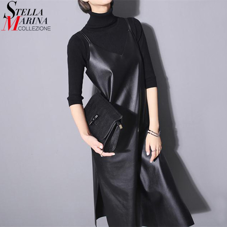 2019 Women Long Black PU Leather Sleeveless Dress Spaghetti Straps V Neck Sides Split  Party Club Slip Dress Robe Style 746