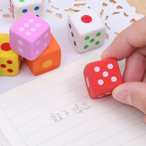 5 Pcs/lot Novelty Dice Shaped Erasers For Kids 3D Candy Color Rubber Eraser Toys Kawaii Stationery School Office Supplies