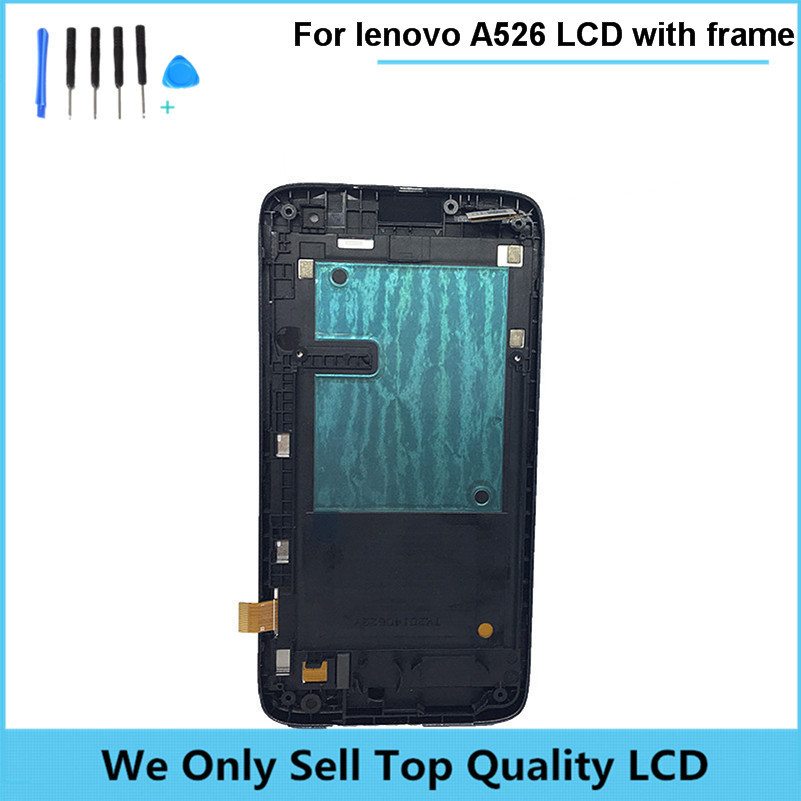 Black LCD with Touch Panel and Frame for Lenovo A526 LCD Display Touch Screen Digitizer font