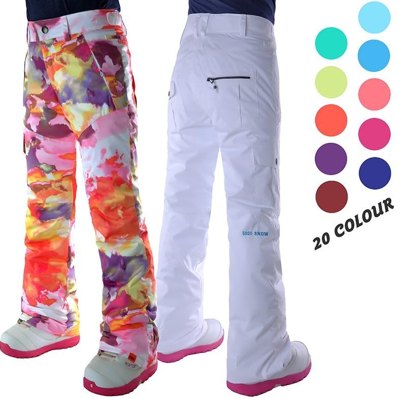 Pantalon de ski blanc femme snowboard noir équitation pantalon de neige plein air coloré pantalon de sport imperméable respirant chaud