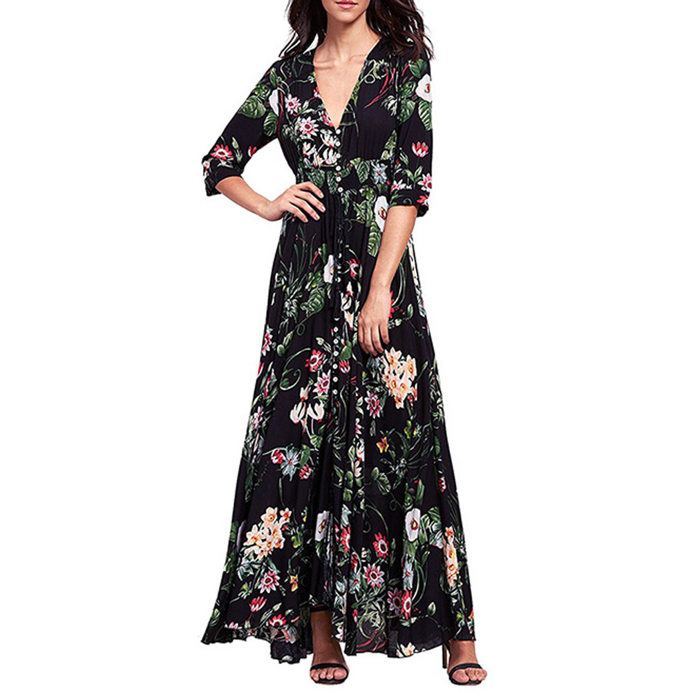 fb1fc11f7 Sexy Women Floral Embroidery Floor-Length Dress Sheer Mesh Summer Boho  A-line Dress