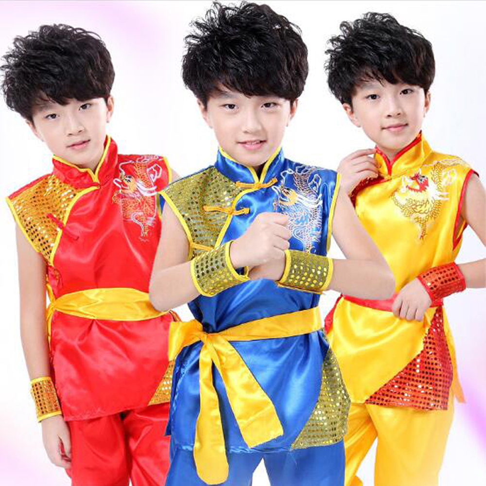 Comfortable Children Perform & Training Costumes for Chinese Kungfu Tops + Trousers Unisex Kids Martial Suit Size 110-170cm