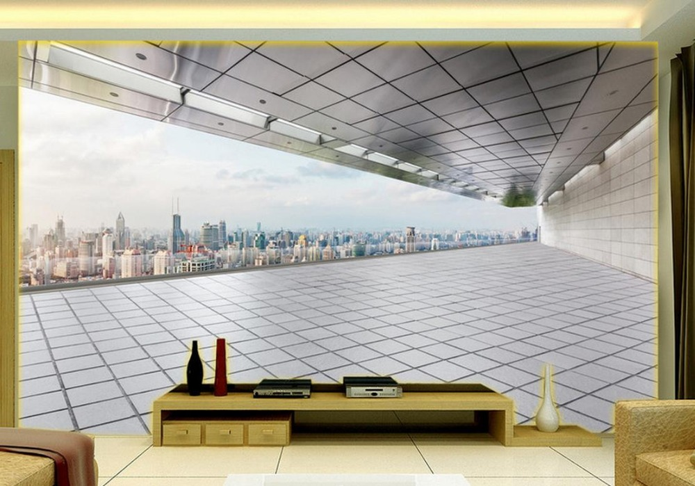 Home Decor Living Room Natural Art 3D space to expand the urban construction TV backdrop 3d murals wallpaper for living room contemporary living space