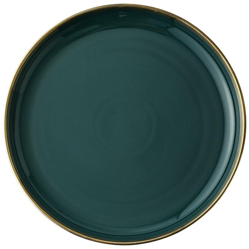 Green Ceramic Gold Inlay Plates And Bowls 4