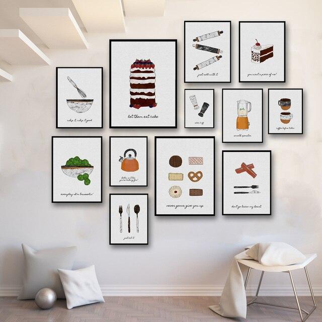 Frameless Modern Cartoon Chefs Canvas Prints Restaurant: Cartoon Tableware Bread Cake Vegetables Coffee Pot Art
