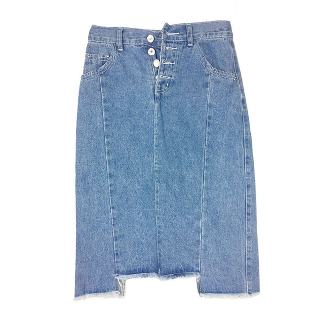 Single Buttons Spring/Summer Skirts 2017 Elegant Slim Midi Denim Skirt High Waist Sexy Womens Pockets Blue Denim Jeans Skirt