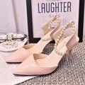 Envío gratis nuevo verano dulce señaló zapatos de tacón alto con finas espejo de la pu de cuero zapatos de trabajo