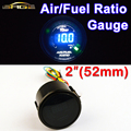 "Car Gauge 2 ""52mm de AIRE/COMBUSTIBLE RATIO Gauge Meter Car Blue LED Digital Display Automotriz Medidores Negro Shell para 12 V vehículo"