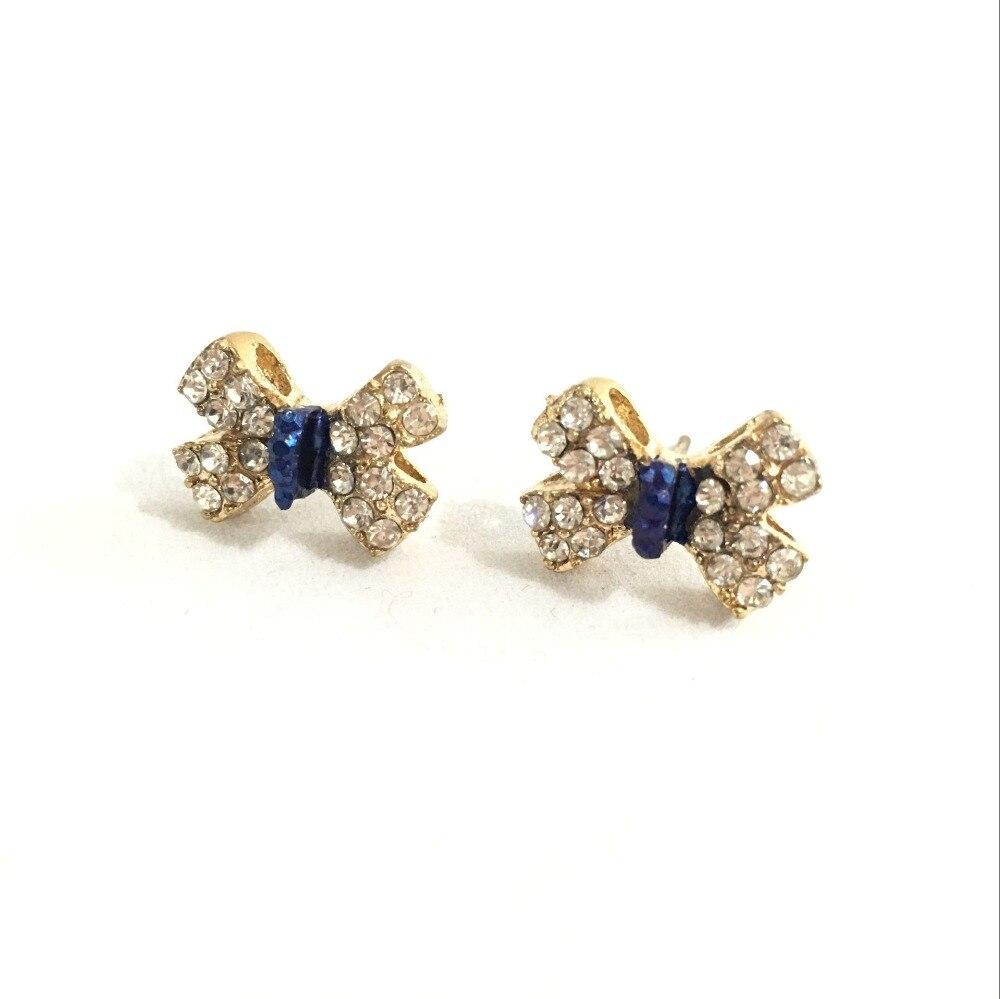 women's fashion Rhinestone crystal bow stud earrings temperament lady female  4ED248