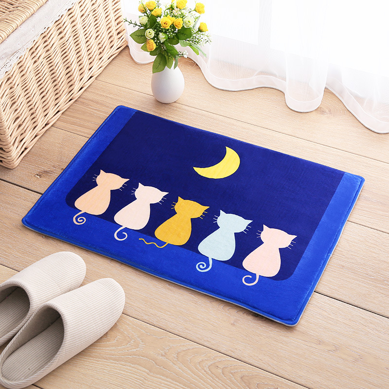Cute Cartoon picture Pink Bow Floor Mat Rug Flannel Door Mat Light Moon cats blue