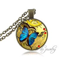 Steampunk Blue Butterfly Pendant Necklace Steampunk Jewelry Vintage Steampunk Gold Gears Mechanical Cogs Jewelry Accessories