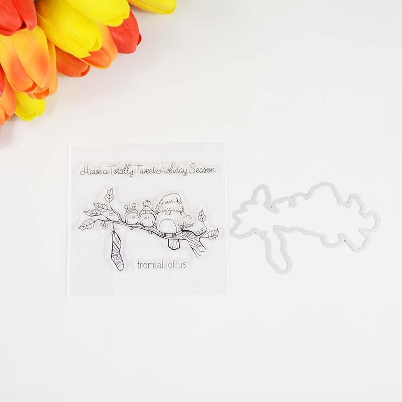 Tweet holiday season Transparent clear stamp/coordinating die for DIY Scrapbooki