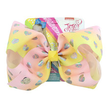 8 Large Party Bow Hair Clip For Girls Kids Handmade Metalic Printed Ribbon Knot Jumbo Accessories