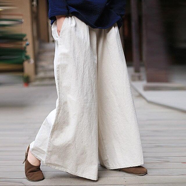 f07078d040c ORIGOODS Cotton Linen Wide leg Pants Women Elastic Waist Vintage Plus size  Pants Chinese style Loose