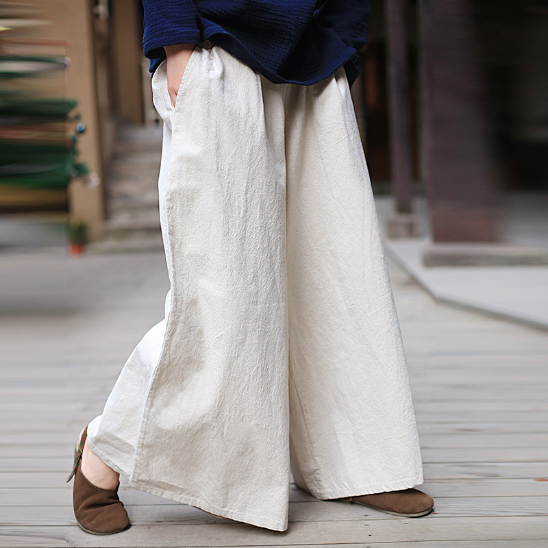 ORIGOODS Cotton Linen   Wide     leg     Pants   Women Elastic Waist Vintage Plus size   Pants   Chinese style Loose   Wide     leg   Trousers C154