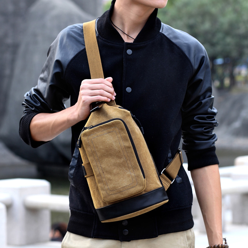 XINCADA Canvas Chest Bags Portable Shoulder Bag Messenger Bag Sports Bag