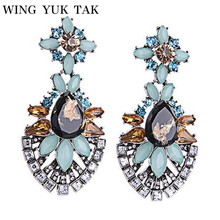 Trendy New Arrival Vintage Luxury Crystal Water Drop Gem Flowers Earrings For Women Fashion Charm Design Party Jewelry
