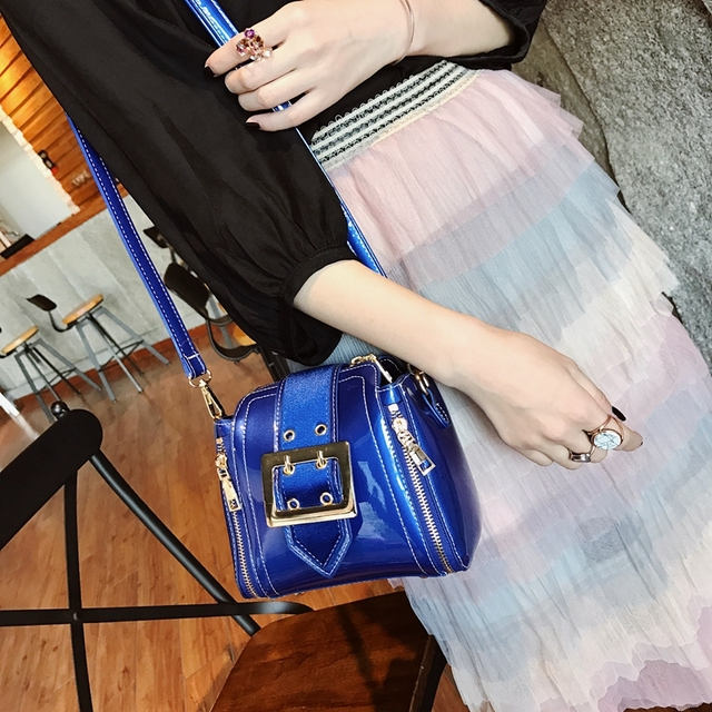 Shiny Leather Bags For Women Fashion Mini Over The Shoulder Brand Designer Sling Bag Green Blue 1