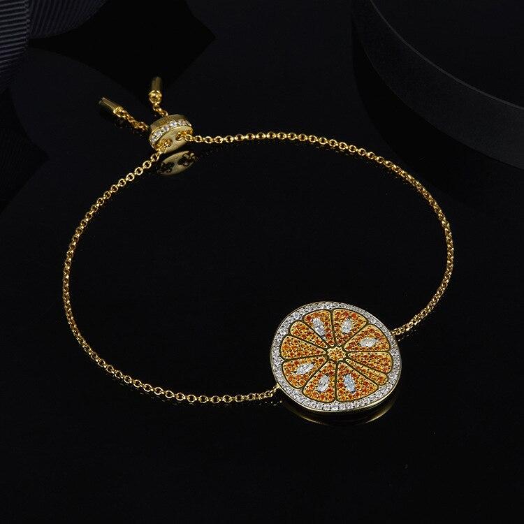 Bracelet de vacances d'été orange bracelet fruit citron chaîne lien bracelet bracelets femmes monaco 925 bijoux en argent sterling