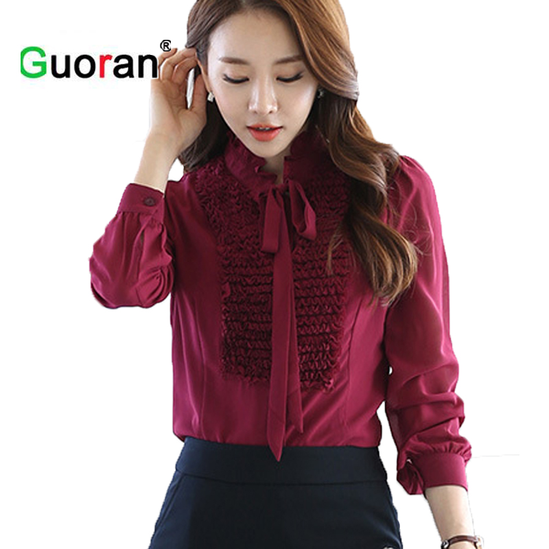 {Guoran } Women chiffon blouse 2018 OL style office work tops black red sweety bow floral shirts Femme Bussiness suit Cloth Red