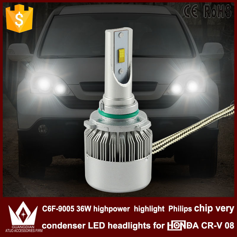 Guang Dian car led light 9005 Headlight Head lamp Spot with mute fan 9005 HB3 High BEAM C6F 6000K white For Honda CRV CR-V 2008 cree h4 led headlight h1 h7 h11 h13 9004 9005 automobile pure white car head light high low beam 6000k lamp with fan icarmo