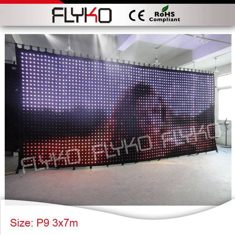 Rainbow color free shipping P9 3*7m guarantee quality led video screen for any occasion