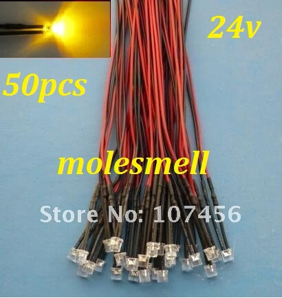 Free Shipping 50pcs Flat Top Yellow LED Lamp Light Set Pre-Wired 5mm 24V DC Wired 5mm 24v Big/wide Angle Yellow Led
