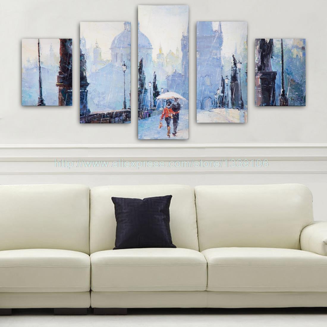Nenhum Quadro 5 Painel Pintura A Leo Abstrata Da Lona Dia Chuvoso  -> Quadro De Parede Para Sala