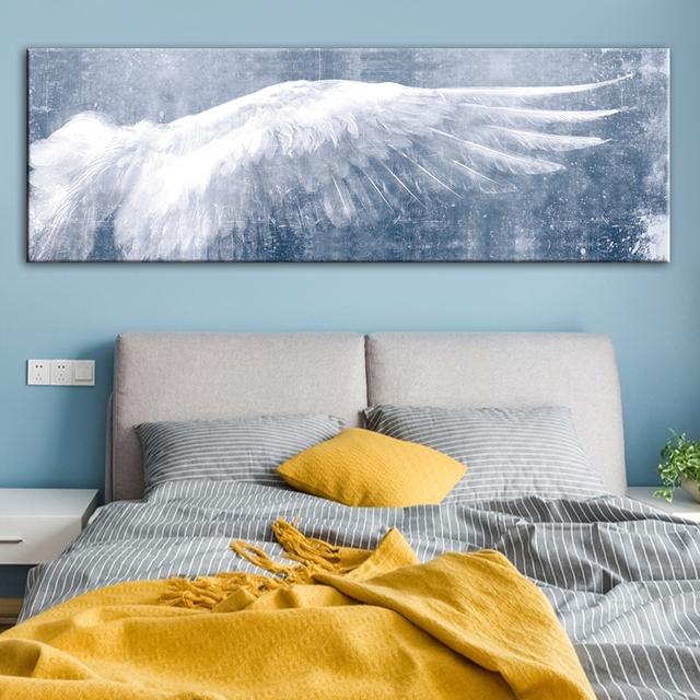 Panel alas de Ángel de pared en blanco y negro arte lienzo pinturas