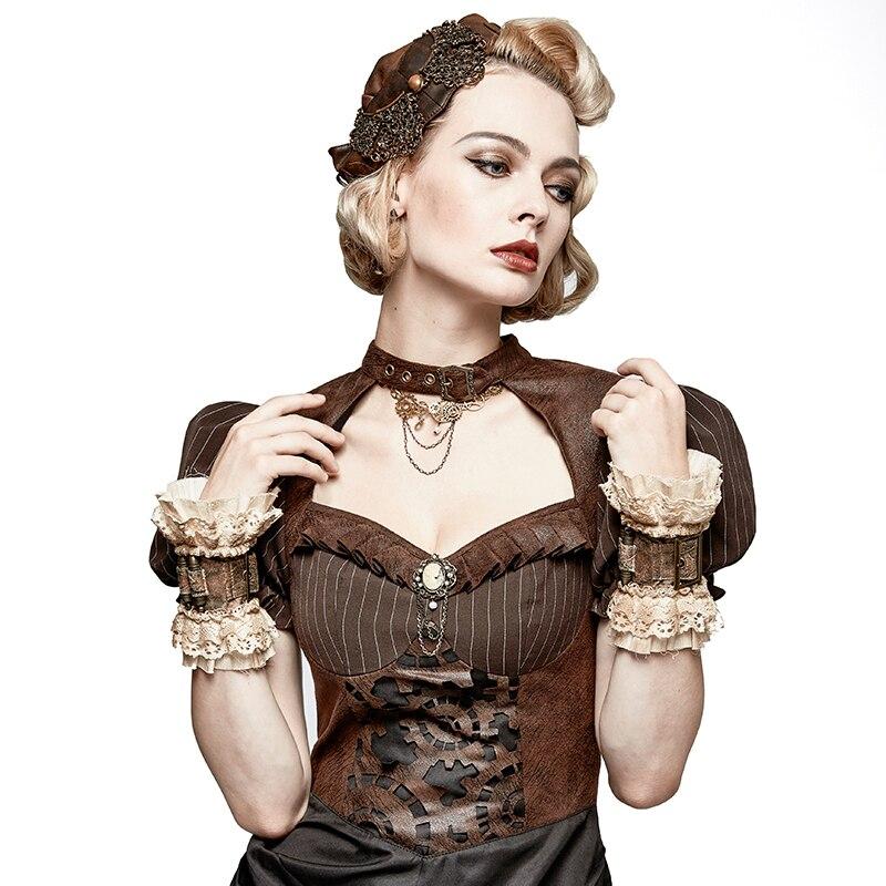 Damen-accessoires Bekleidung Zubehör Punk Neue Stil Winter Damen Armband Kaffee Leder Armlinge Mit Schnalle Europäischen Palace Spitze Arm Ärmel