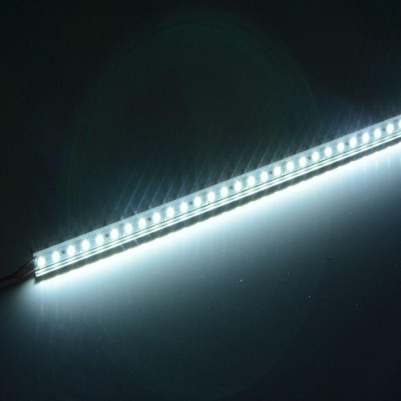 5 шт./лот алюминиевый светодиодный светильник с жесткой полосой Ultra Slim 12V DC 50cm SMD5050 светильник для шкафа бар/Караван/автомобиль с алюминиевым корпусом-белый