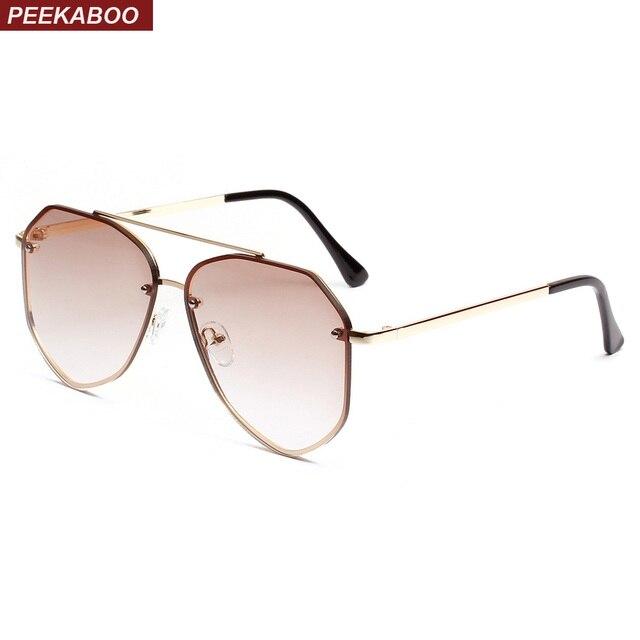 799c0fe1590 Peekaboo men flat top sunglasses women metal frame 2019 summer women clear lens  sun glasses for