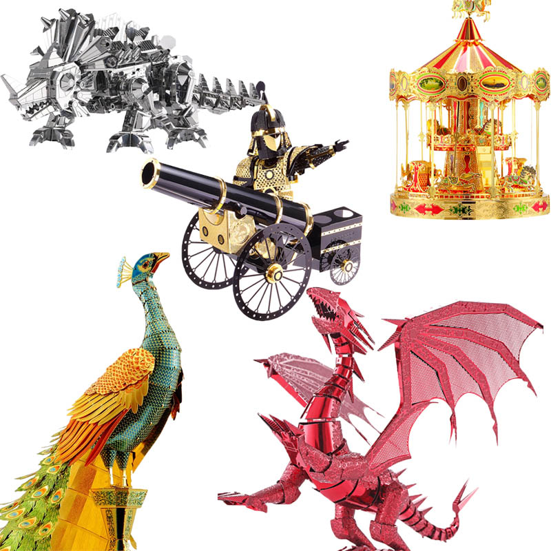 Piececool 3D Metal Puzzle Toy DIY Simulation Dinosaur Dragon Peacock Furniture Model Building Kits Kids Toys цена 2017