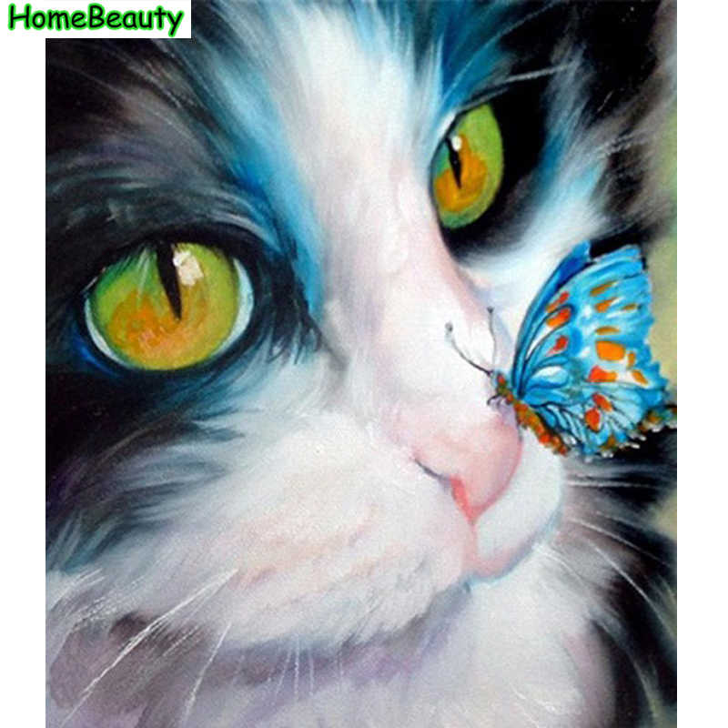 Diy acrylic painting by numbers cat and butterfly canvas art oil pictures coloring by number wall decoration handpainted PH9220