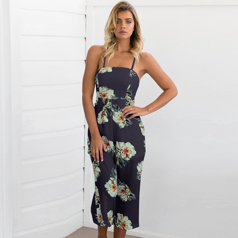 Women Jumpsuit Sexy Floral Printed 2017 Fashion Lady Summer Romper Casual Backless Jumpsuit elegant Hollow Out Bodycon Jumpsuit