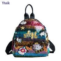 YTAIK Female Bling Sequins Backpack Cute Shell Shape Shoulder Bag Women Mini Backpacks Children Girls Travel
