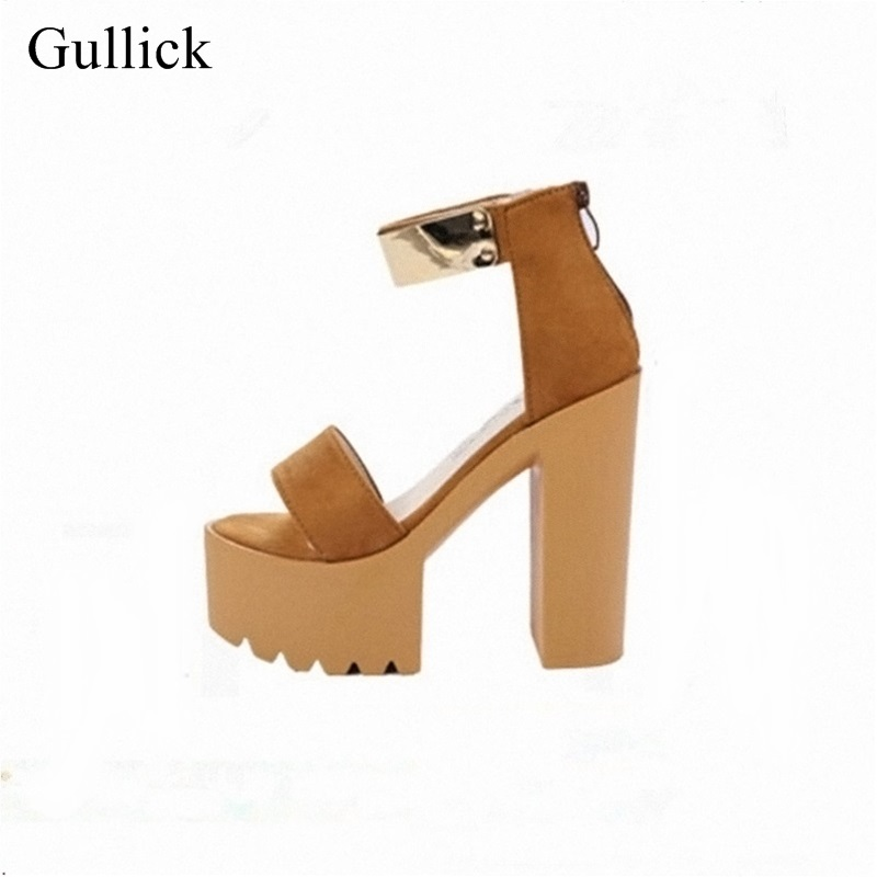 Fashion Women Chunky Heels Sandals 15CM Gladiator Platform Shoes Gold Metal Decoration Pumps 2018 Summer Dress Shoes 2017 gladiator sandals summer platform shoes woman gold silver flats buckle women shoes fashion creepers xwz6816