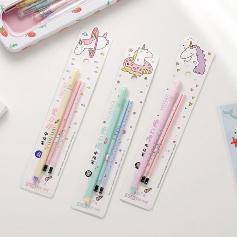 Unicorn Erasable Pen 0.5mm Blue / Black Magic Gel Pen Kawaii Student Writing Stationery For School Office Supply Gift ac11 4x watercolor style gradient erasable gel pen writing signing pen school office supply stationery student gift rewarding