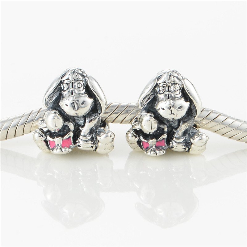 Eeyore With Dark Pink Beads Fit Pandora Charms Silver 925 Original Bracelet Women Fashion Jewelry Disny Beads For Jewelry Making  (4)