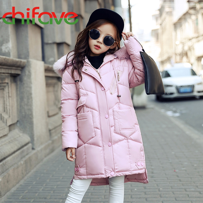 2017 chifave Winter Baby Girls Boys Coat Fur Collar Long Warm New Hooded Kids Parka Fashion Children Girls Boys Jacket Thick