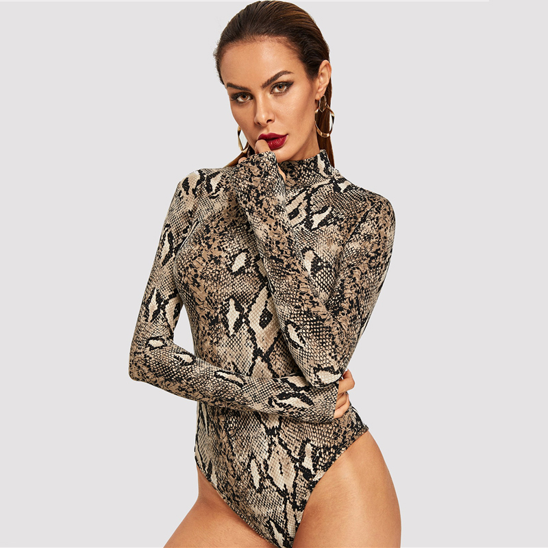 Snake Print, High Neck, Casual Bodysuit, Women's Long Sleeve Bodysuit, Fashion Vintage Bodysuit 16