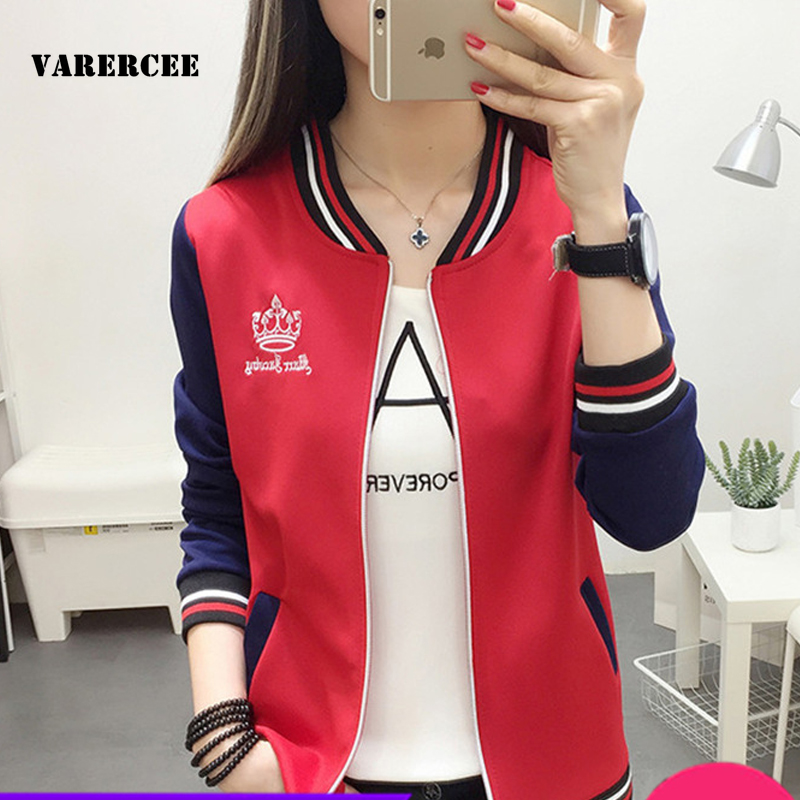 VARERCEE Full sleeve Basic Jacket women 2018 Spring Autumn O-neck Slim female coats Letter Embroidery Casual femme bomber jacket