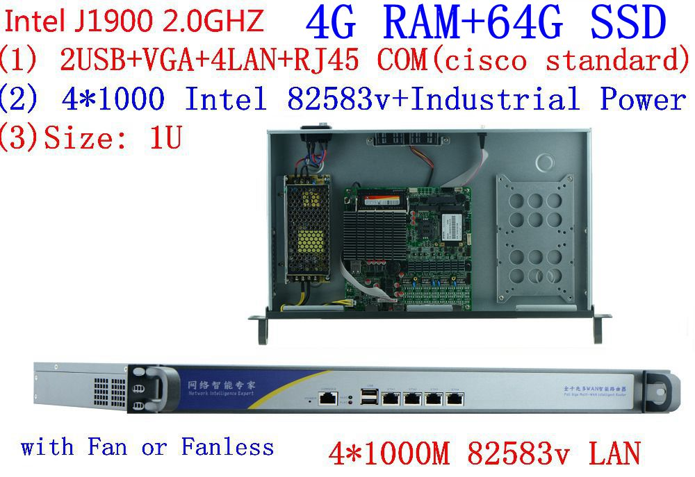 1U j1900 с 4 г Оперативная память 64 г SSD маршрутизатор брандмауэра pfsense Quad core 4*1000 м сети ethernet сетевой безопасности устройства сервера