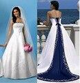 2016 Strapless Vestido De Noiva Uma Linha de Cetim Branco E Azul Árabe Bordado Tribunal Trem vestido de Noiva vestido de Noiva