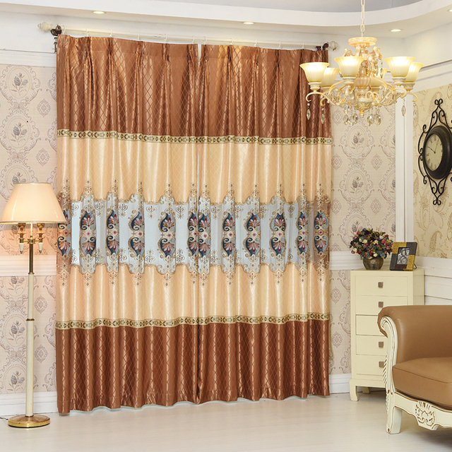 High End European Luxury Window Blackout Curtain For Living Room Bedroom Embroidered Coffee 1pcs Price