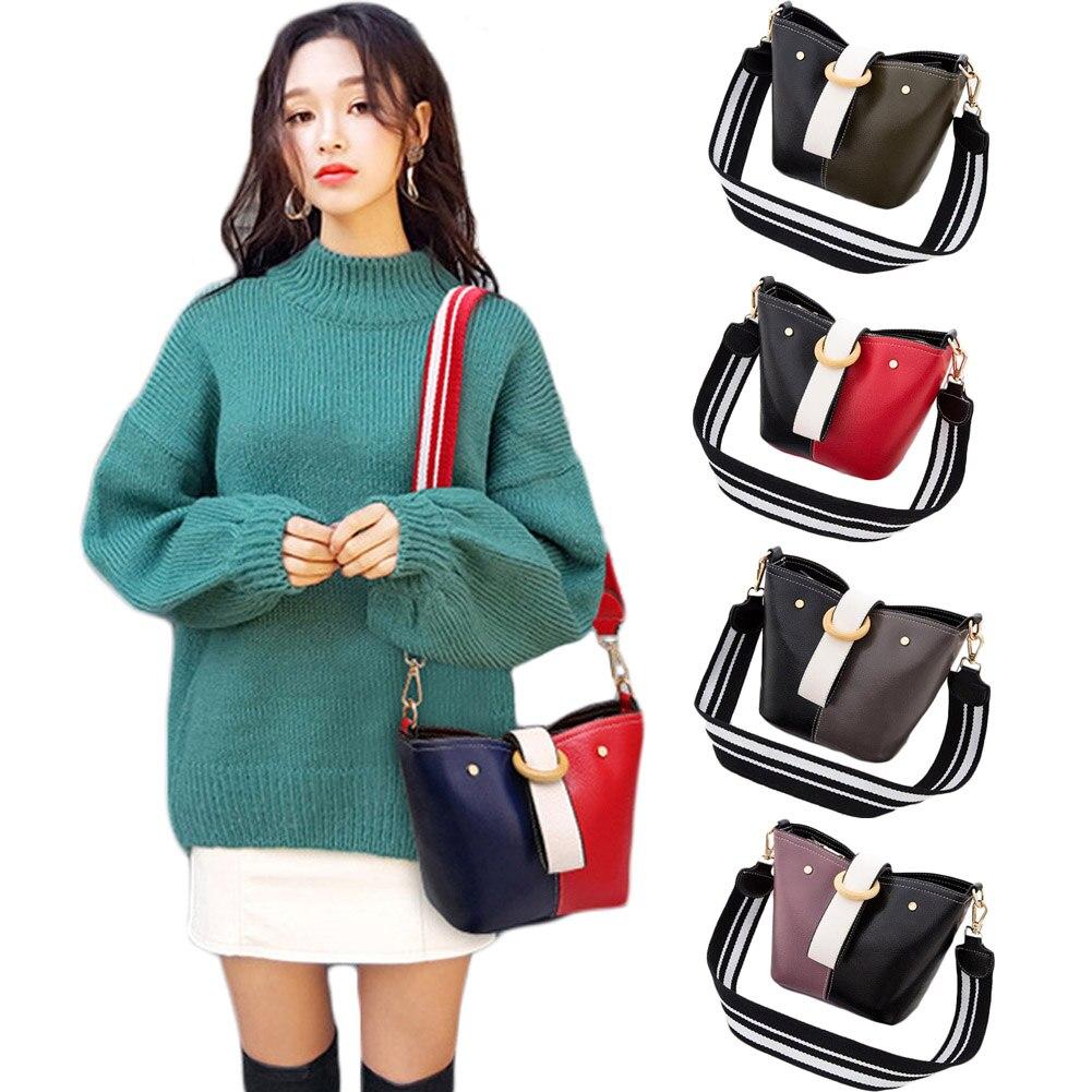 Womens Shoulder Bag Patchwork Zipper Cross Body Satchel Handbag Bag Pu Leather Bucket Black Red Lady Shoulder Bags